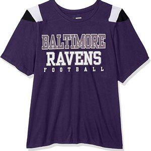 NFL Baltimore Ravens glitter tee, colorblock, 5x